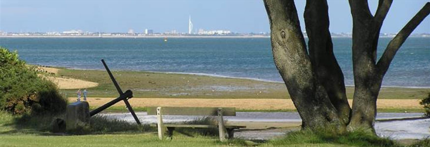 View from Lepe Country Park with sights of Portsmouth