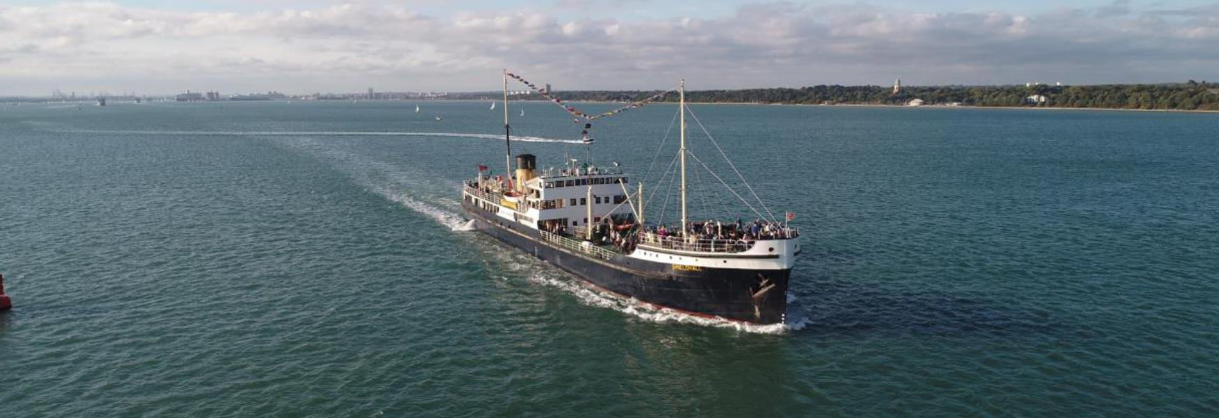 Steamship Sheidhall travelling on The Solent in the New Forest