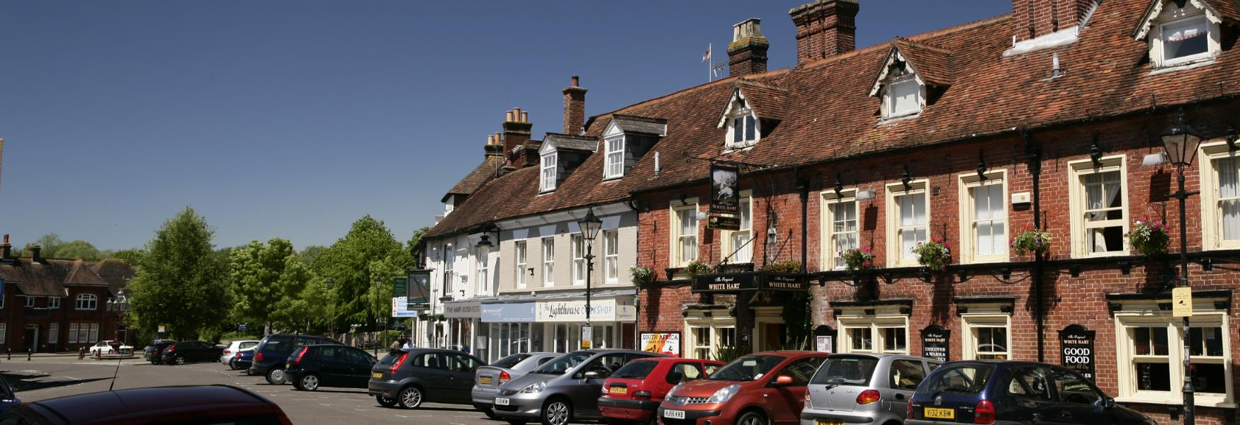 High Street shops and pub in Ringwood in the new forest