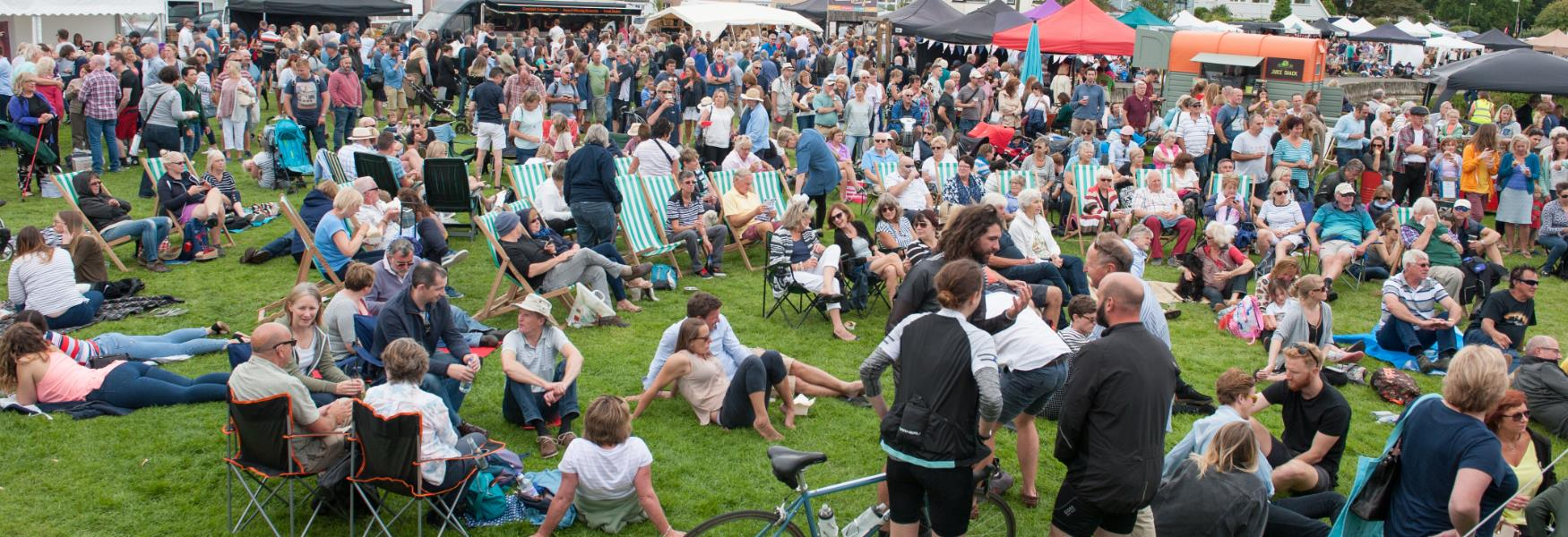 crowds of people watching live music at event in the new forest