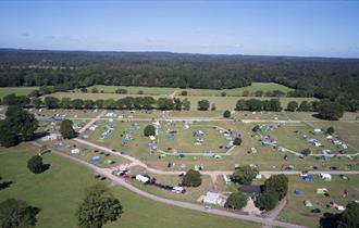 An aerial view of New Park Farm Campsite in the heart of the New Forest National Park