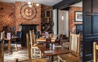 Restaurant seating at The Trusty Servant Inn in the New Forest