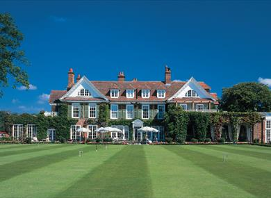 lawn outside of chewton glen hotel & spa in the new forest
