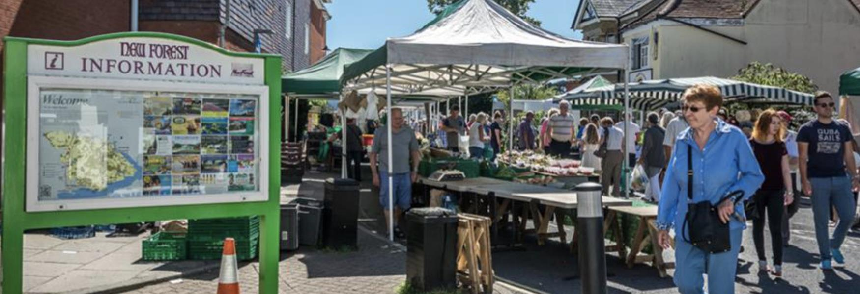 Weekly market event in Hythe in the New Forest
