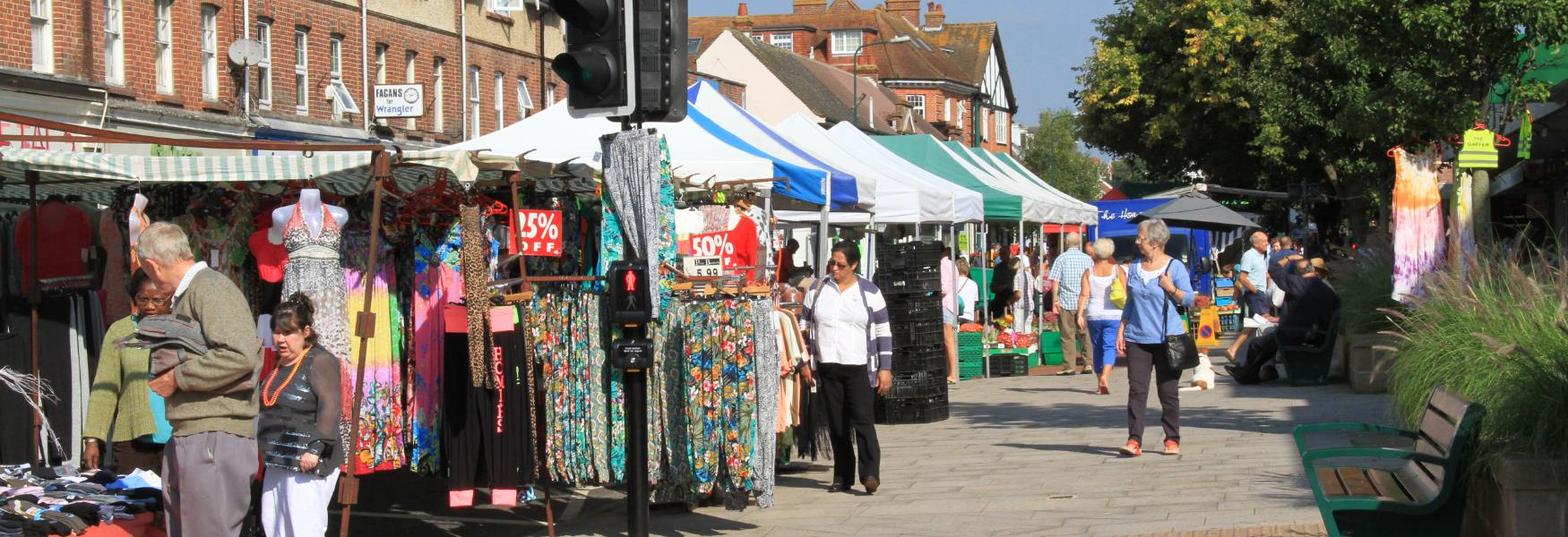 market event in new Milton high street in the new forest