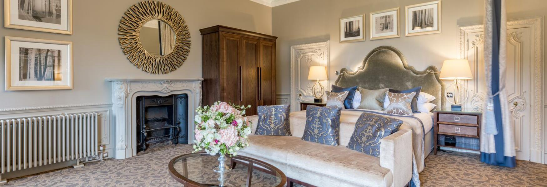 luxury hotel room at rhinefield house in Brockenhurst in the new forest