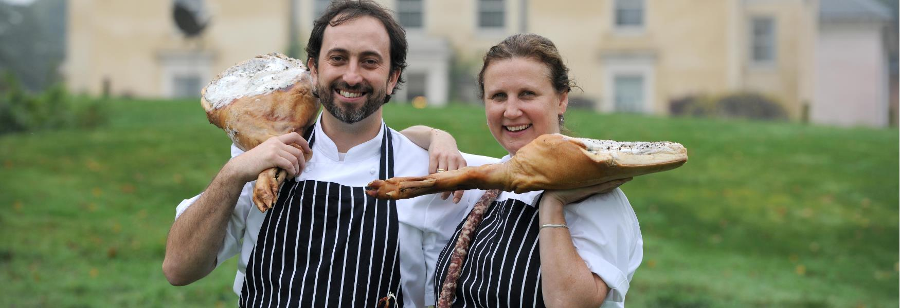 angela Hartnett and luke holder famous chefs at lime wood hotel in the new forest