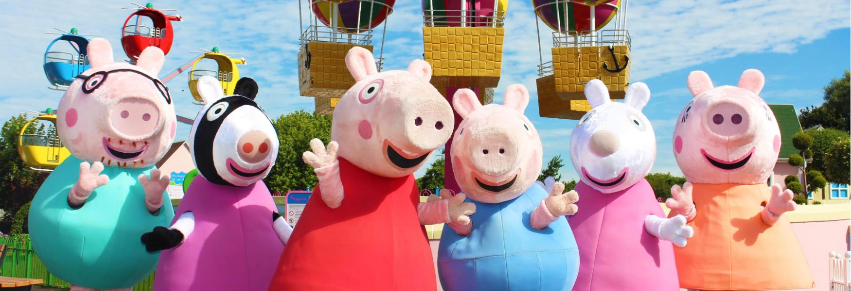 peppa pig and friends at peppa pig world at Paultons park family friendly theme park in the new forest