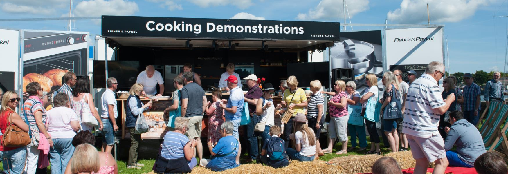 cooking demonstrations at food and drink event in the new forest