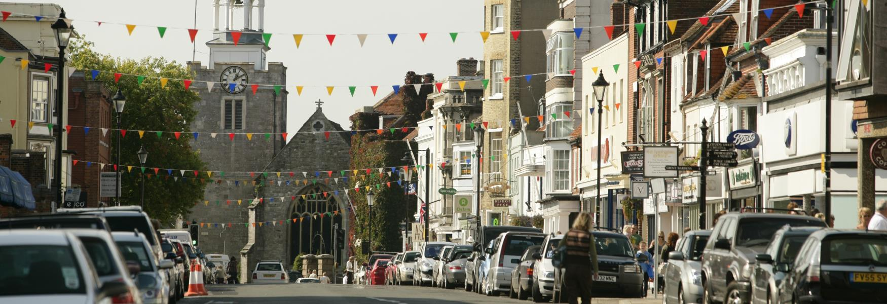 Lymington High Street in the New Forest