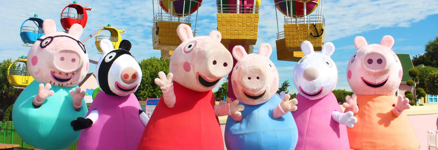 Peppa Pig and friends in Peppa Pig World at Paultons Park in the new forest