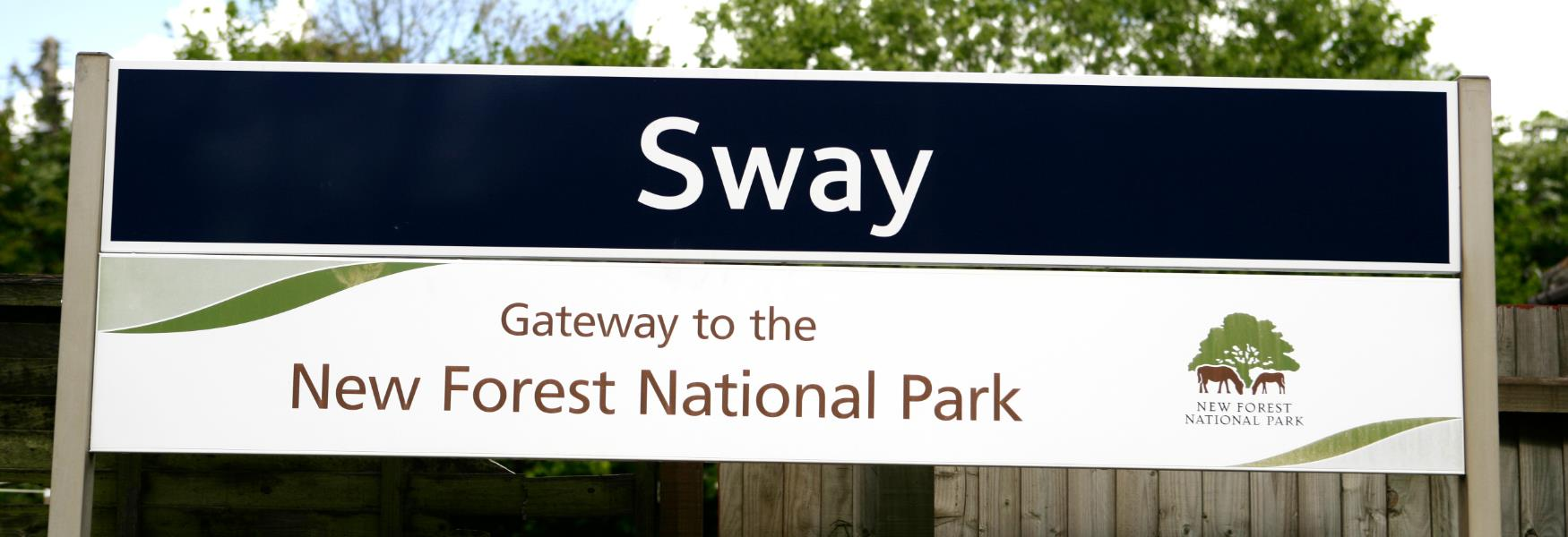 sway train station sign in sway in the new forest