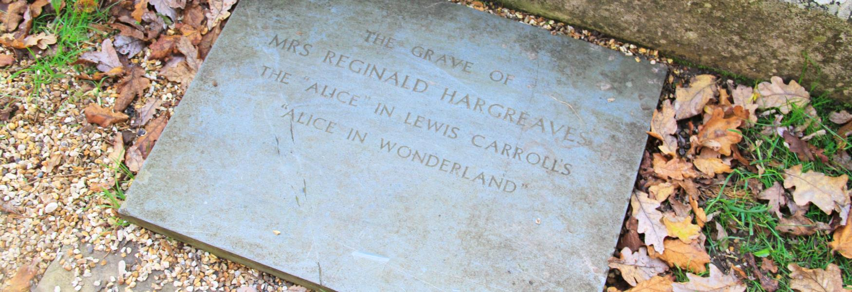 grave of reginald Hargreaves, the alice in alice in wonderful in Lyndhurst in the new forest