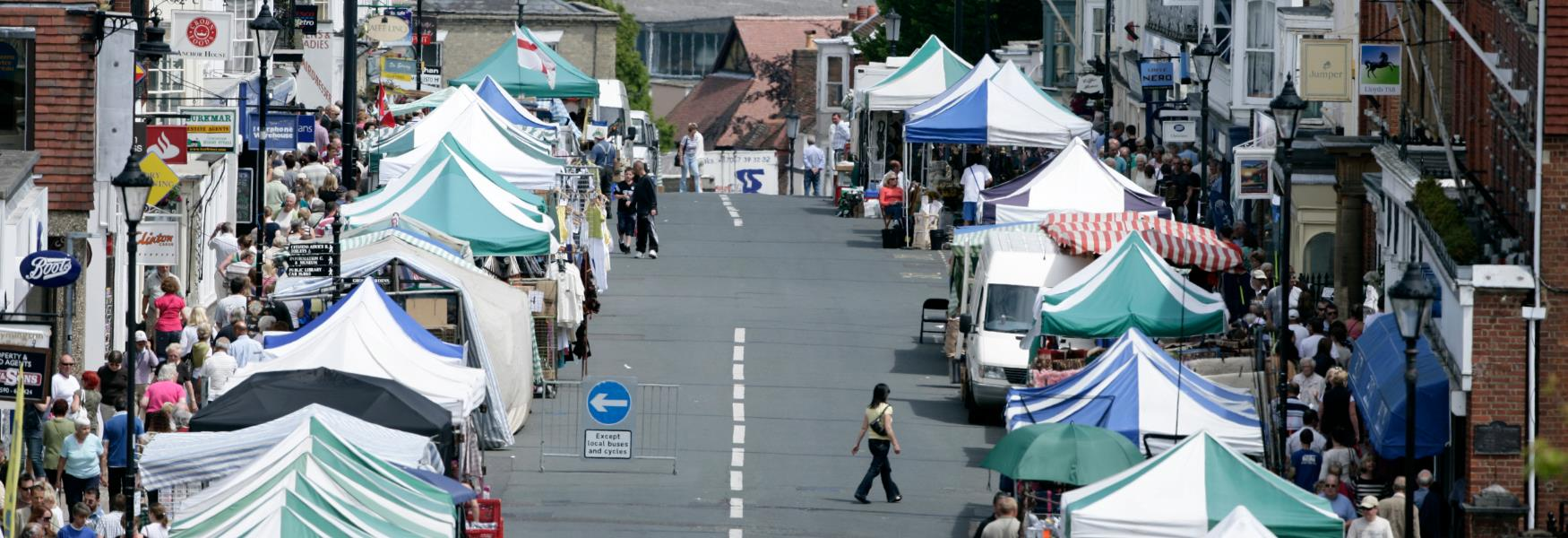 market in lymington high street in the new forest