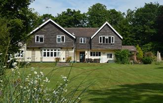 front of little forest lodge in the new forest