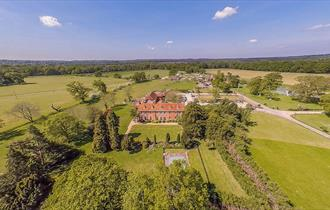 birds eye view drone photo of new park manor hotel and spa in the new forest