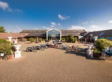 Outside of Sammy miller motorcycle museum in the new forest