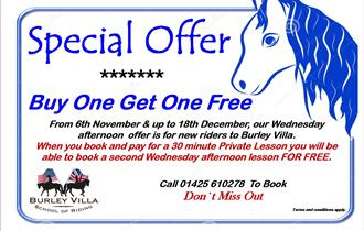 Introductory ' Buy One Get One Free' Horse Riding Lesson Offer